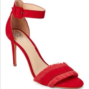 Vince Camuto Cherry Red Fringed High Heel Sandals